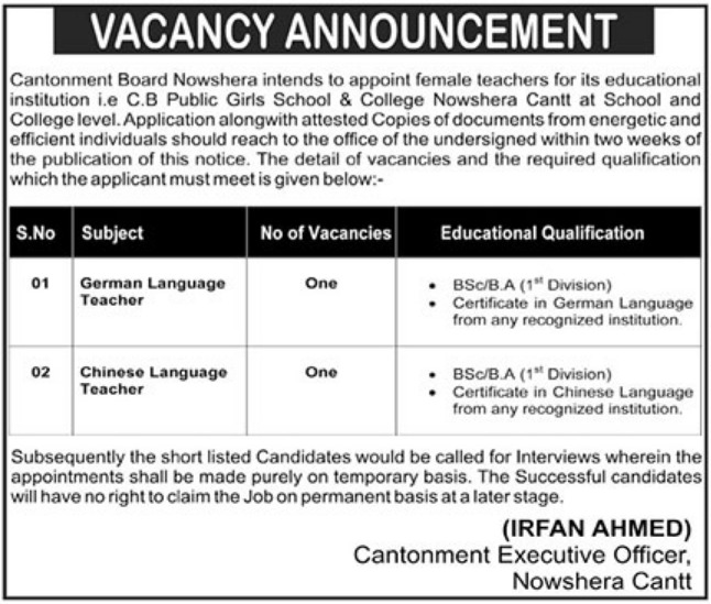 Cantonment Board Public Girls School & College Nowshera Cantt Jobs 2018