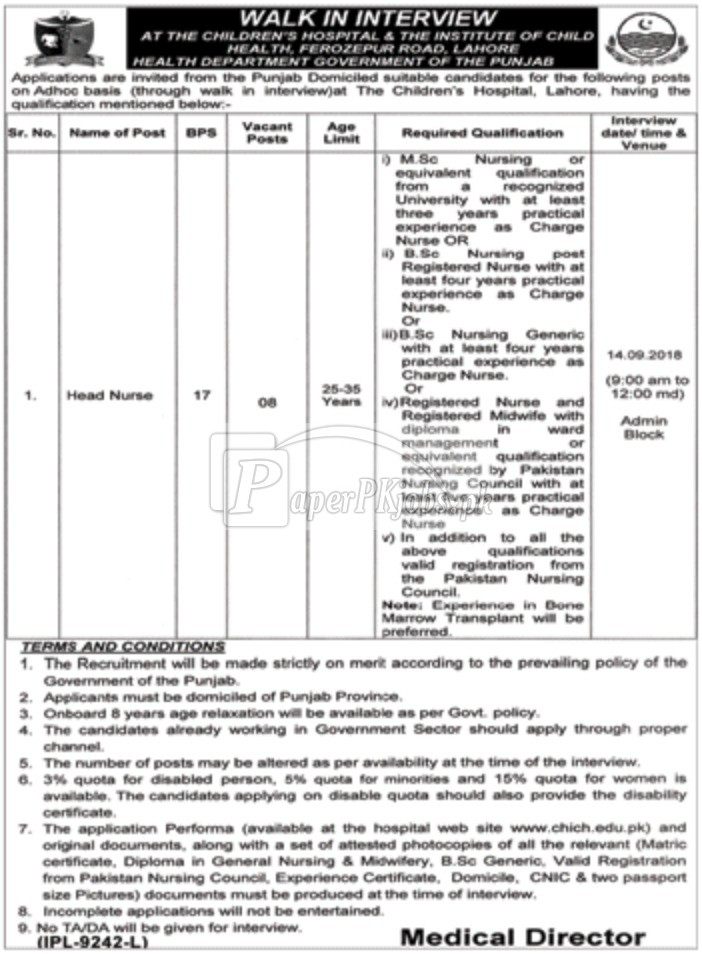 Children Hospital Lahore Jobs 2018