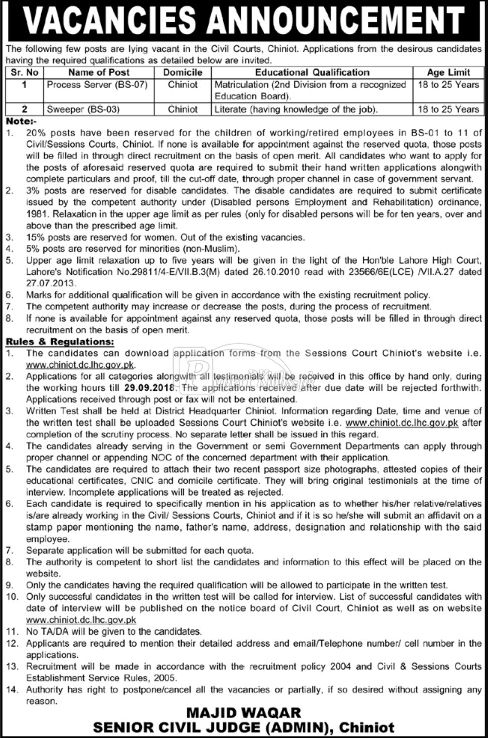 Civil Courts Chiniot Jobs 2018