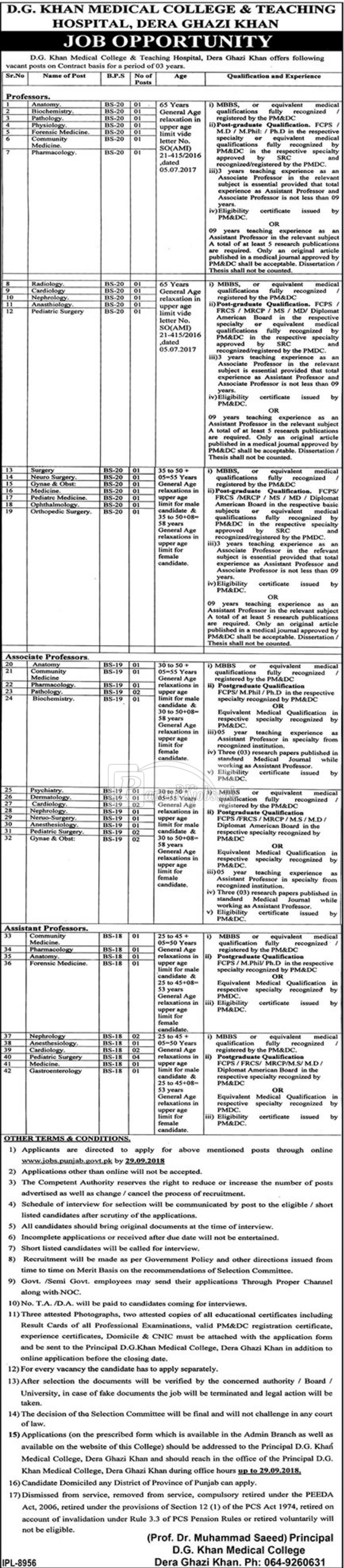 D.G.Khan Medical College & Teaching Hospital Jobs 2018