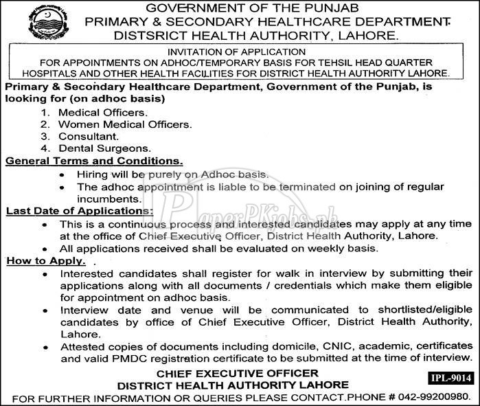 District Health Authority Lahore Jobs 2018