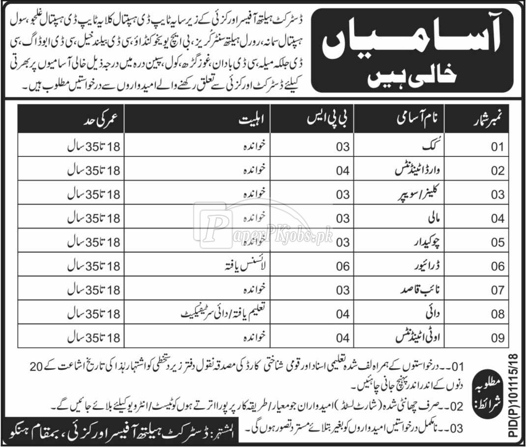 District Health Autohrity Orakzai Jobs 2018