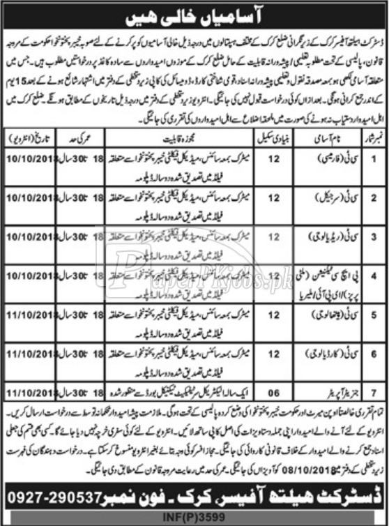 District Health Officer Kirk Jobs 2018