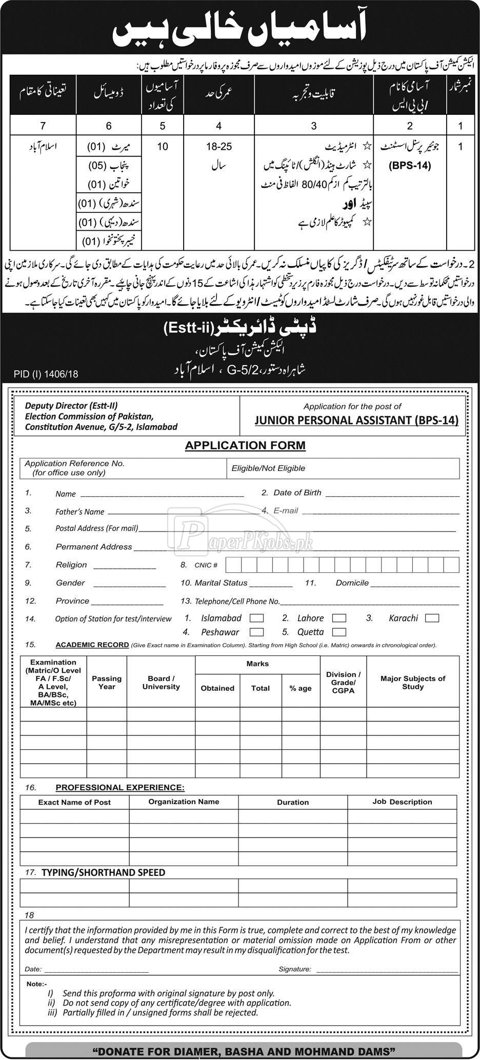 Election Commission of Pakistan ECP Islamabad Jobs 2018
