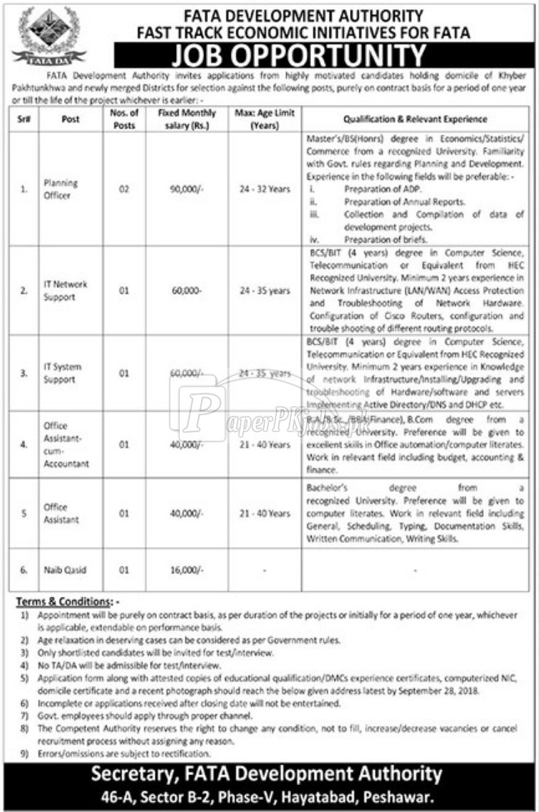 FATA Development Authority Hayatabad Peshawar Jobs 2018