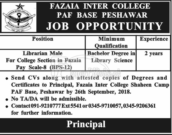 Fazaia Inter College PAF Base Peshawar Jobs 2018