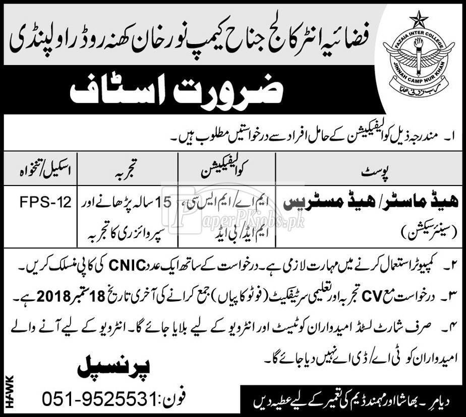 Fazaia Inter College Rawalpindi Jobs 2018