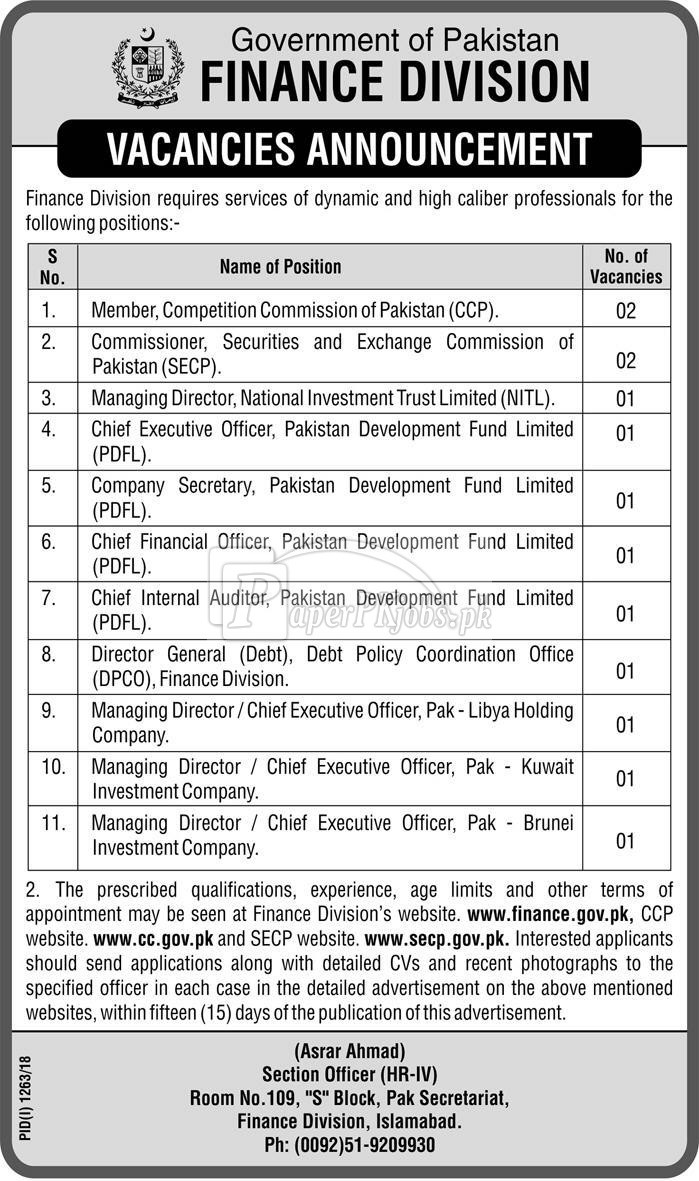 Finance Division Government of Pakistan Jobs 2018