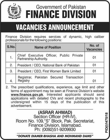 Finance Division Government of Pakistan Jobs 30 September 2018