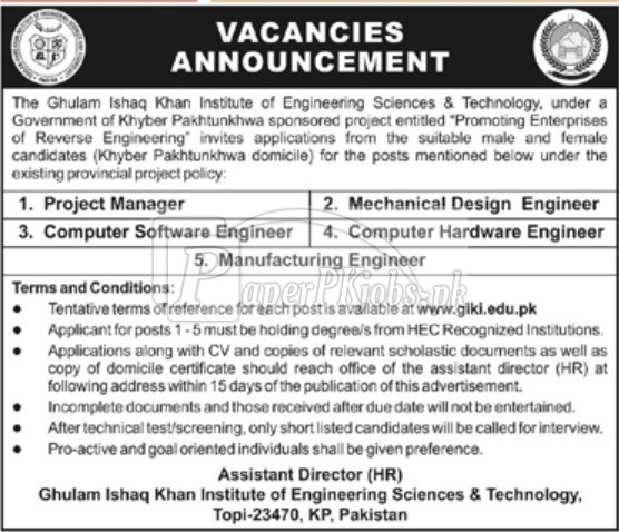 GIK Institute of Engineering Sciences & Technology KPK Jobs 2018