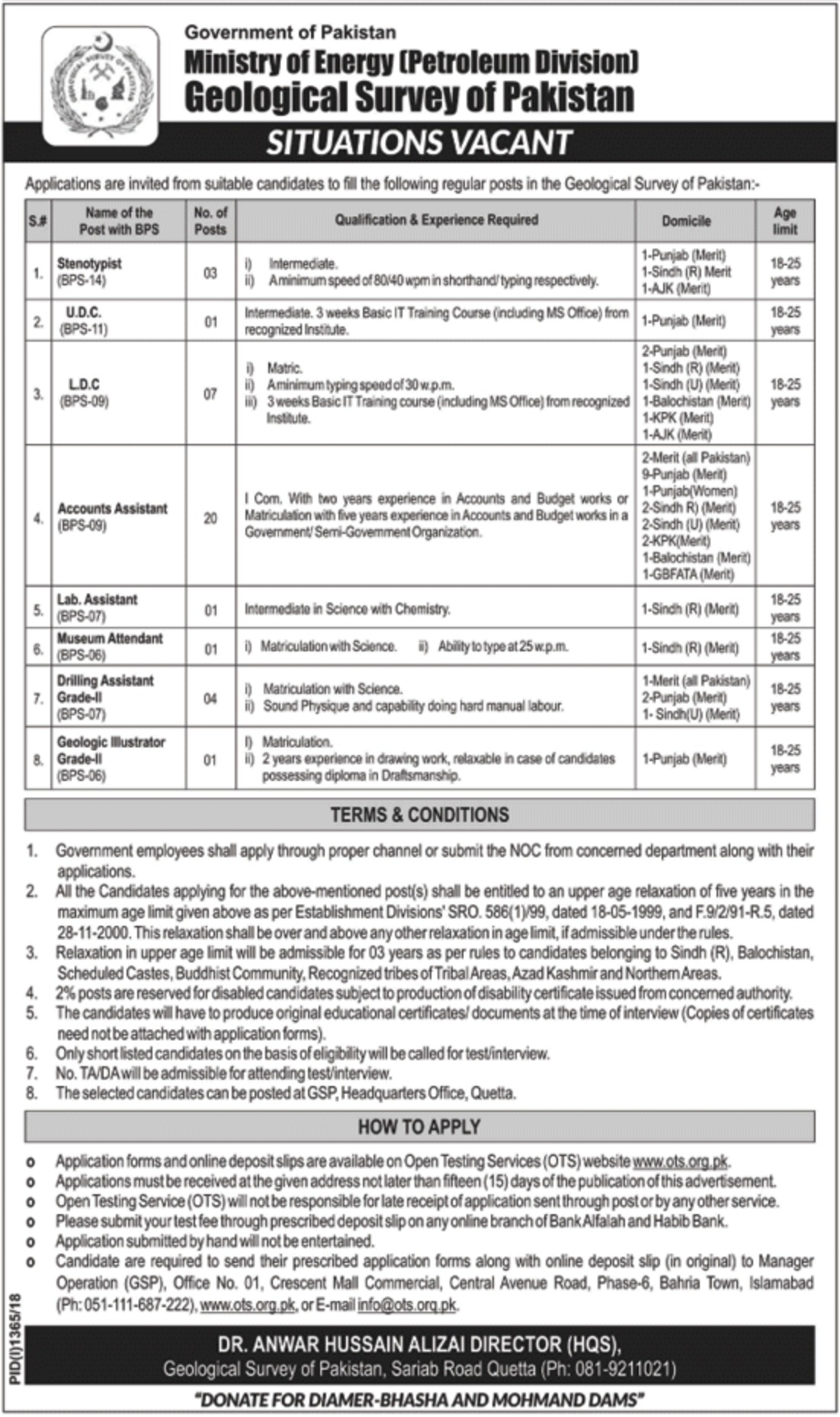 Geological Survey of Pakistan Ministry of Energy Jobs 2018
