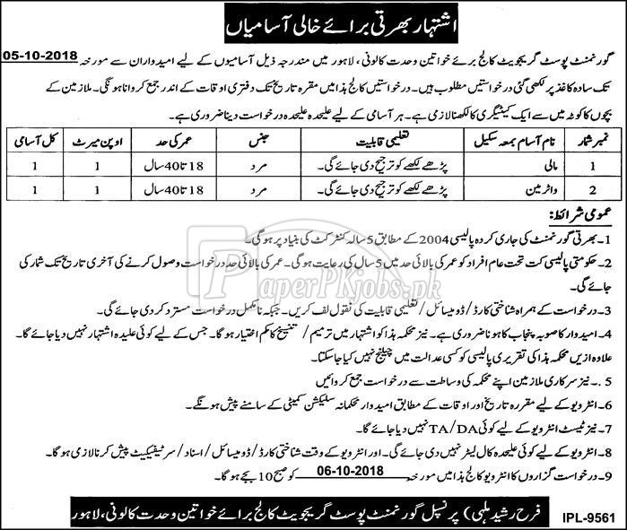 Govt Postgraduate College for Women Wahdat Colony Lahore Jobs 2018