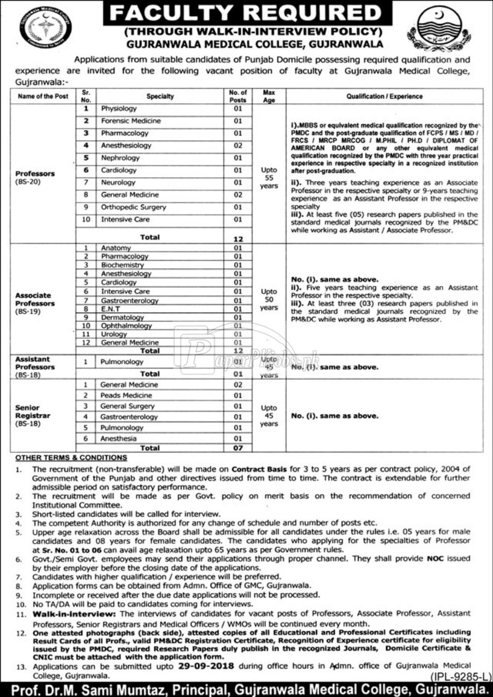 Gujranwala Medical College Jobs 2018