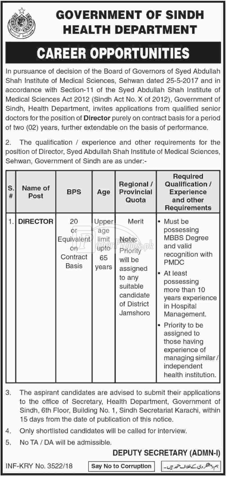Health Department Sindh Jobs 2018