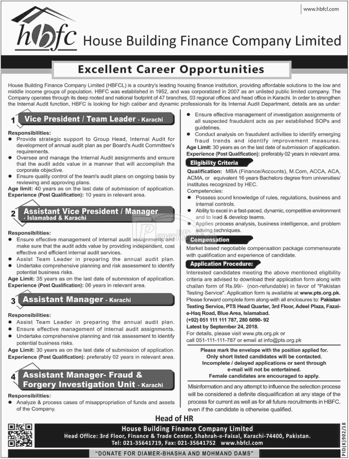 House Building Finance Company HBFC Jobs 2018