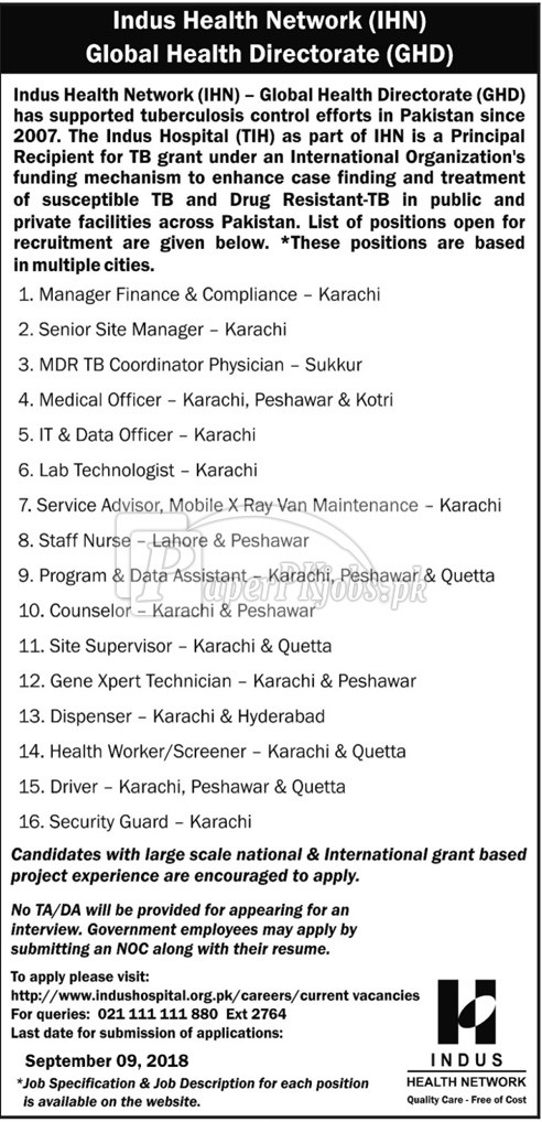 Indus Health Network Jobs 2018