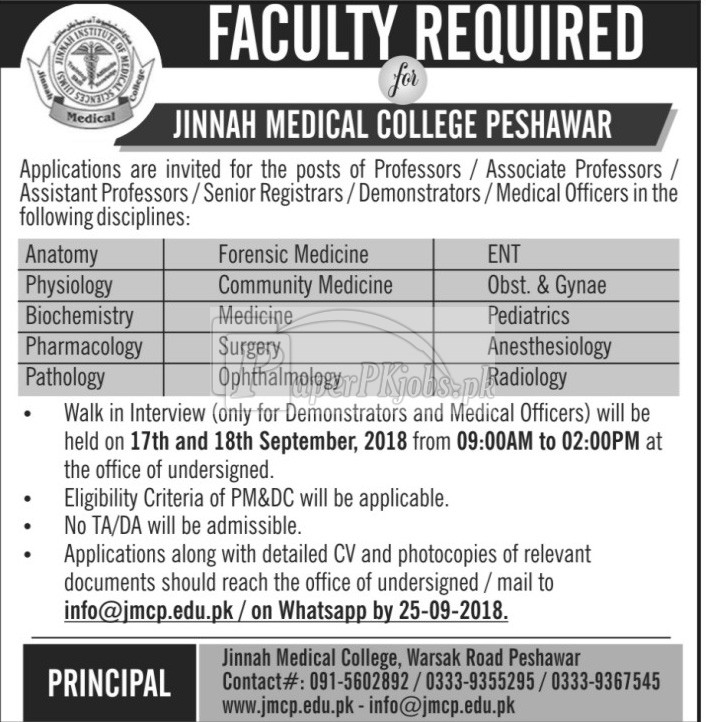 Jinnah Medical College Peshawar Jobs 2018