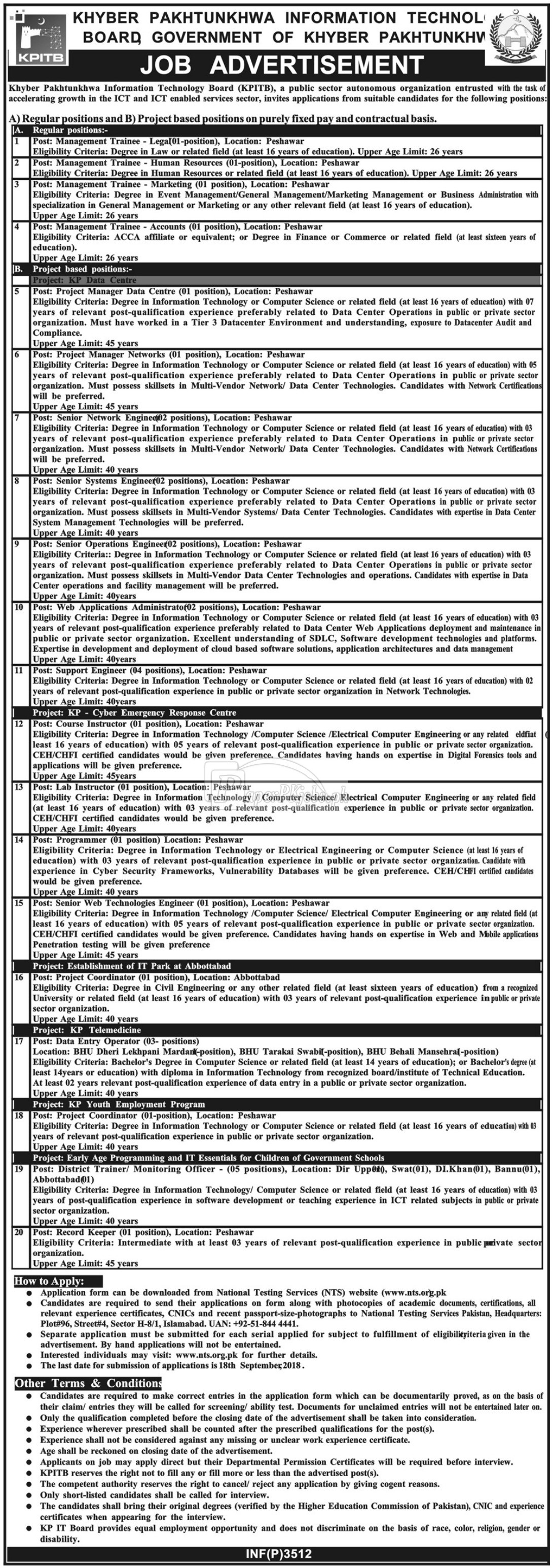 KPK Information Technology Board KPITB Jobs 2018