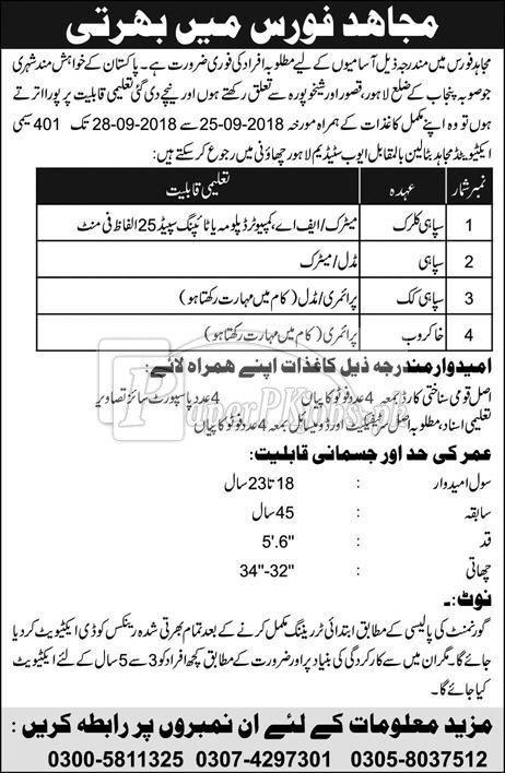 Mujahid Force Jobs 2018