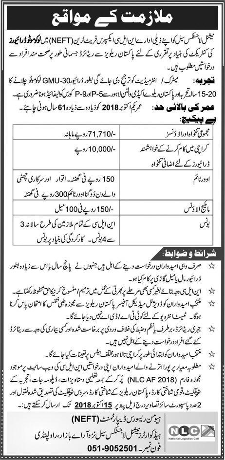 NEFT National Logistics Cell Jobs 30 September 2018