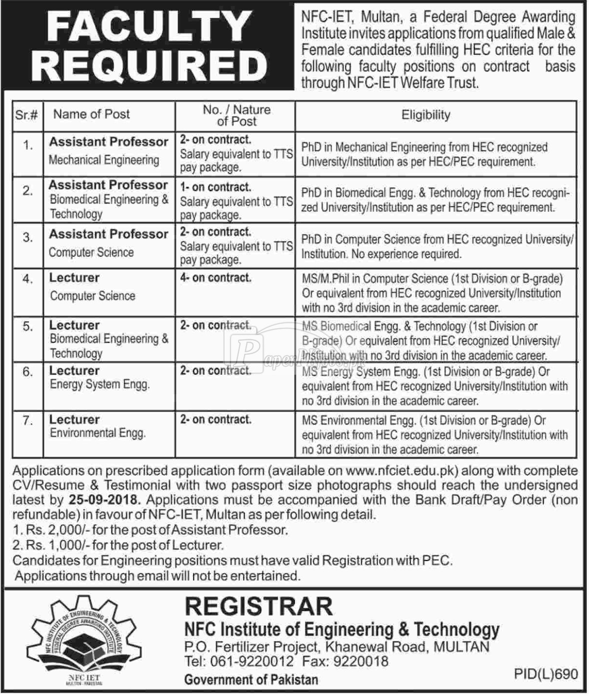 NFC Institute of Engineering & Technology Multan Jobs 2018