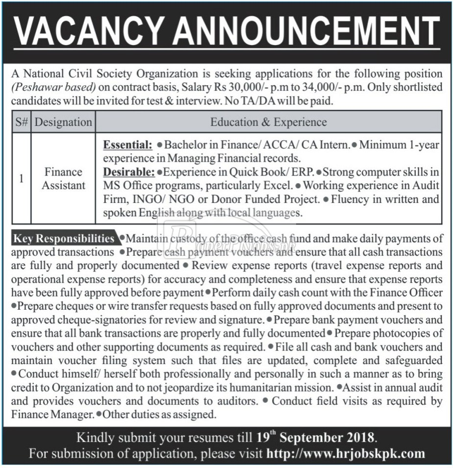 National Civil Society Organization Peshawar Jobs 2018