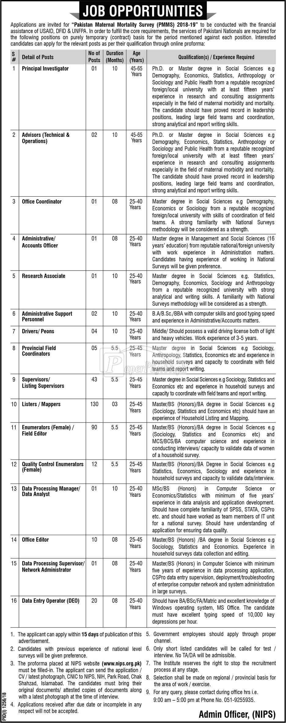 National Institute of Population Studies NIPS Jobs 2018
