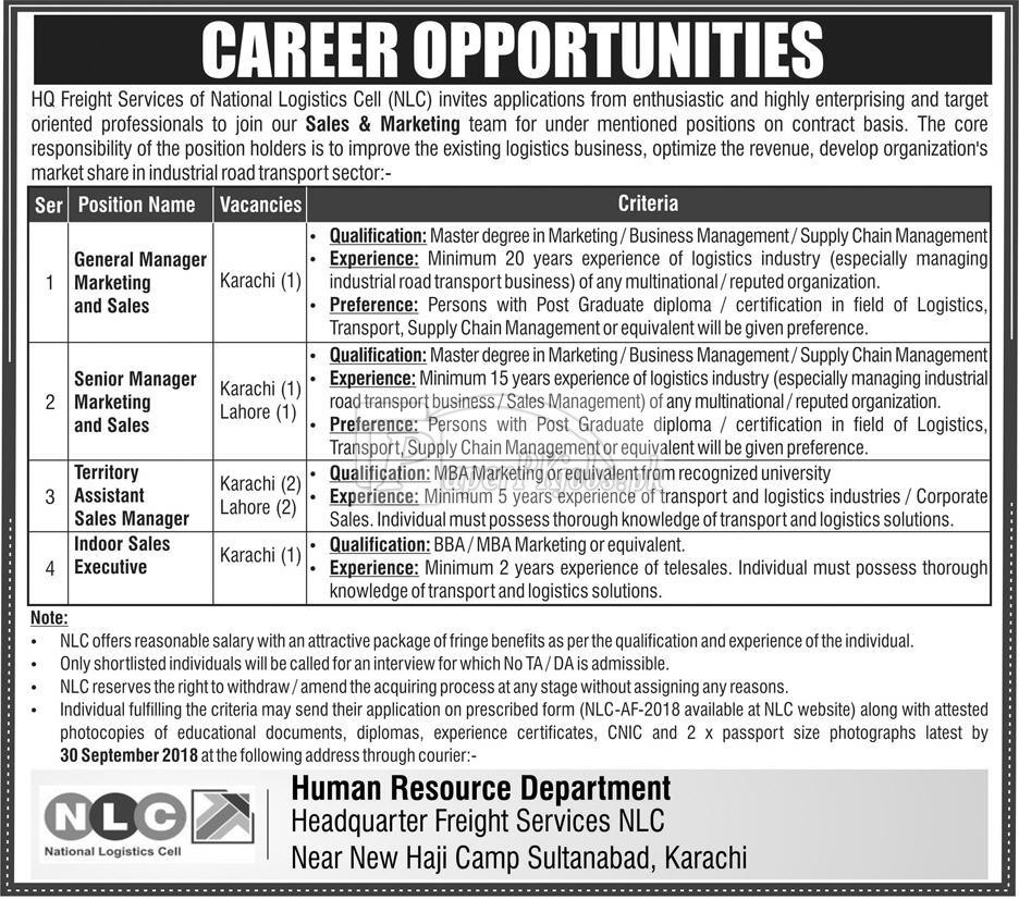 National Logistics Cell NLC Jobs 2018