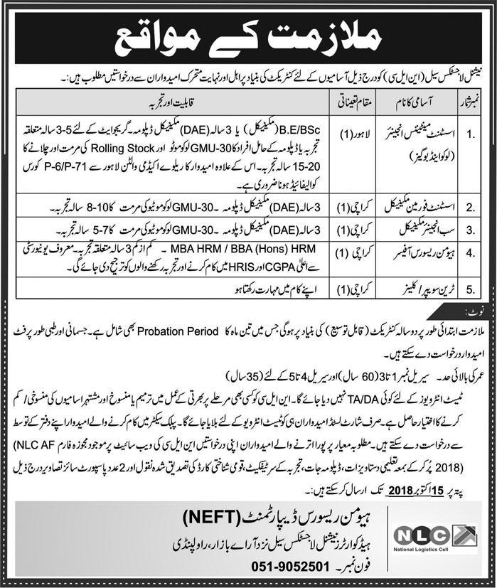 National Logistics Cell NLC Jobs 30 September 2018