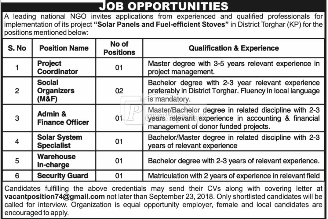National NGO KPK Jobs 2018