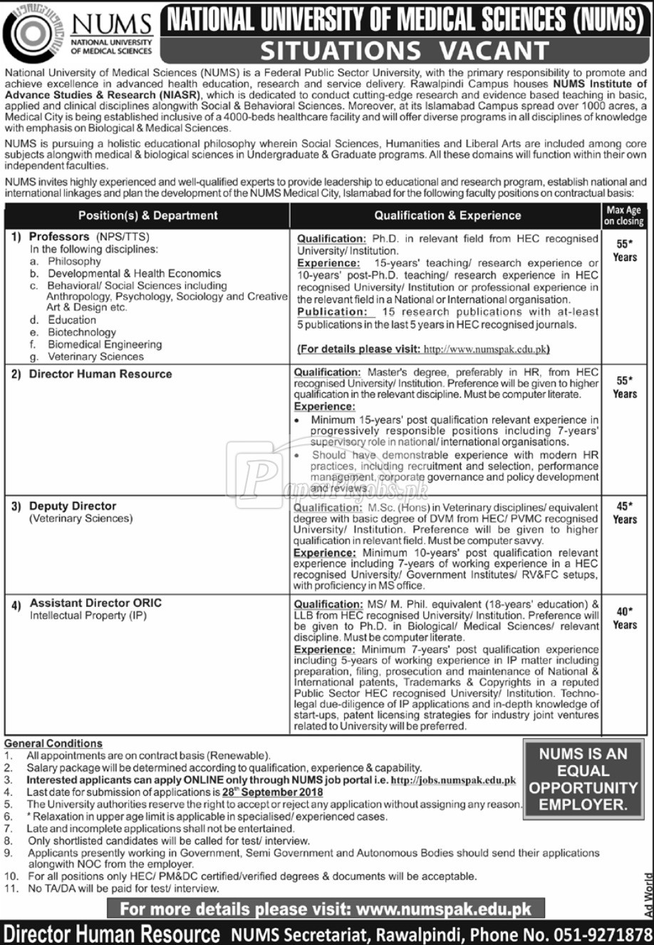 National University of Medical Sciences Jobs 2018