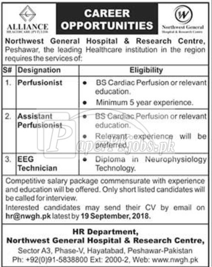 Northwest General Hospital & Research Centre Peshawar Jobs 2018