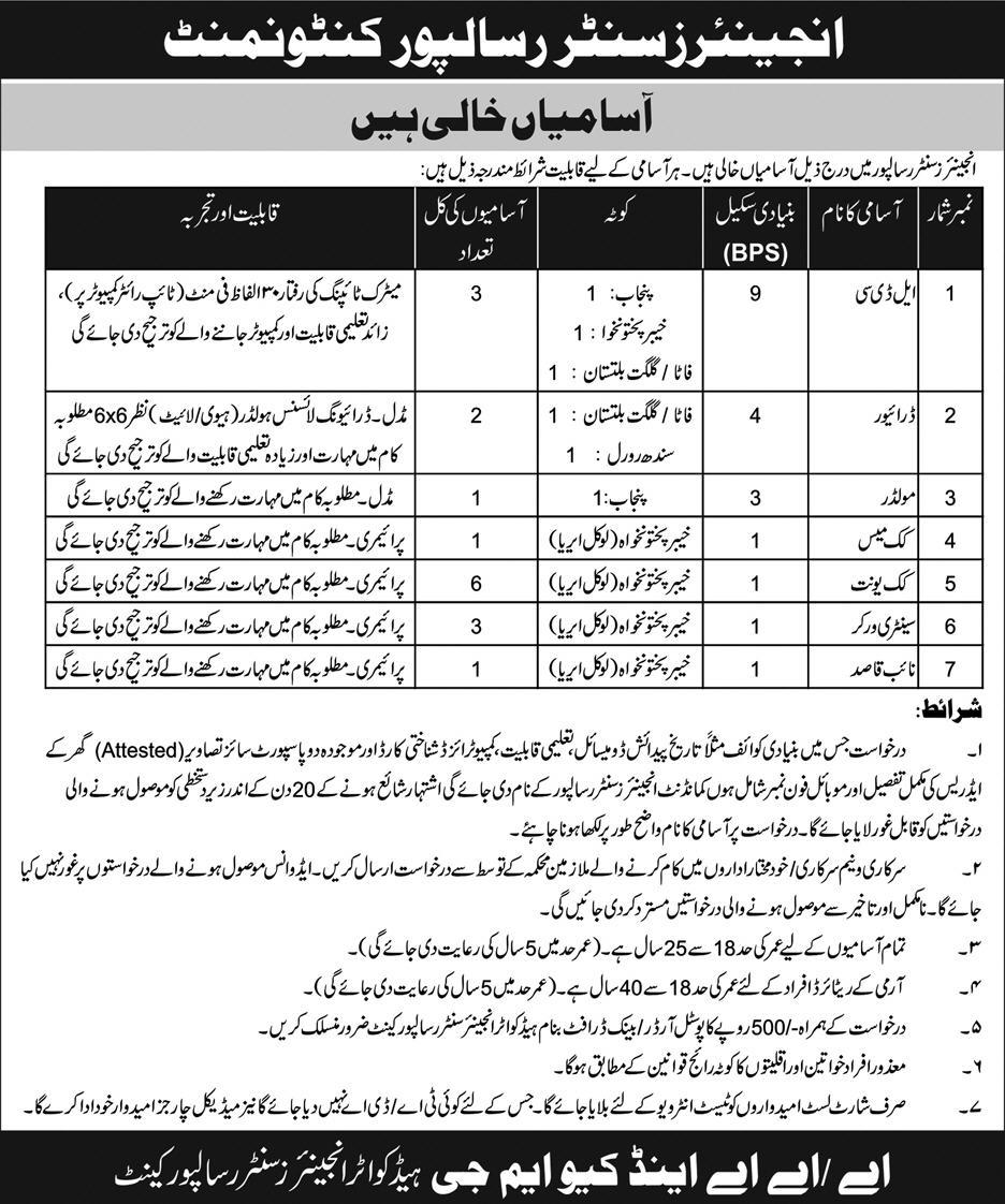 Pak Army Engineers Center Risalpur Cantt Jobs 30 September 2018