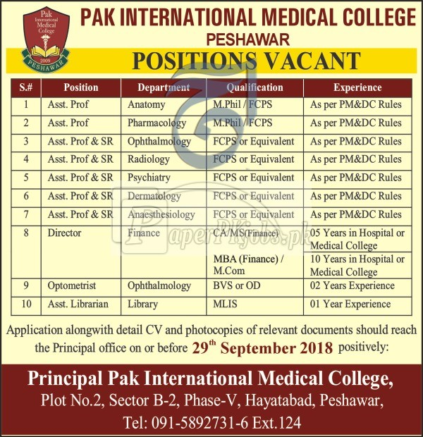 Pak International Medical College Peshawar Jobs 2018