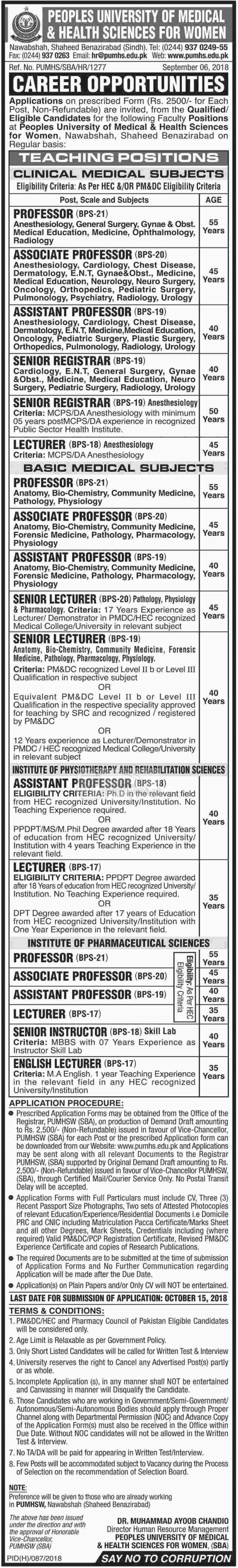 Peoples University of Medical & Health Sciences for Women PUMHS Jobs 2018