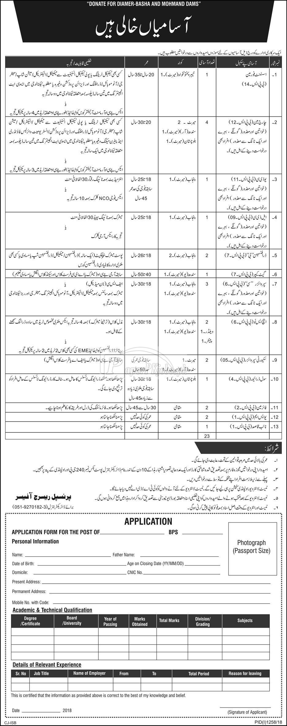 Public Sector Organization P.O.Box 240 Rawalpindi Jobs 2018