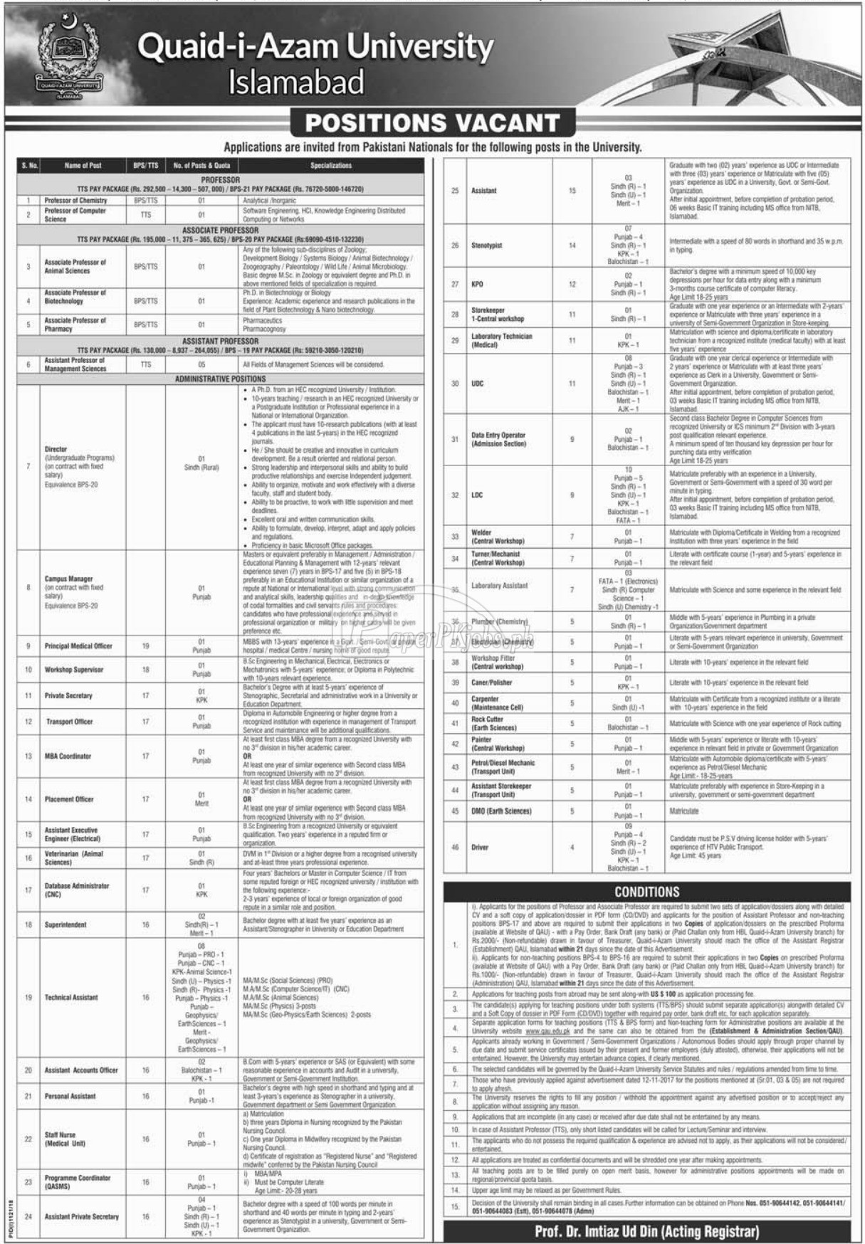 Quaid-i-Azam University Islamabad Jobs 2018