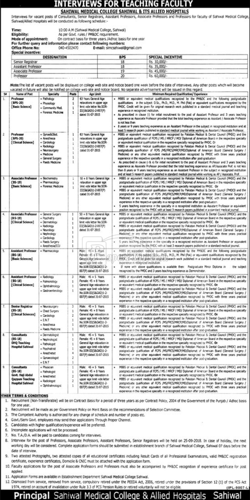 Sahiwal Medical College Sahiwal & Allied Hospitals Jobs 2018