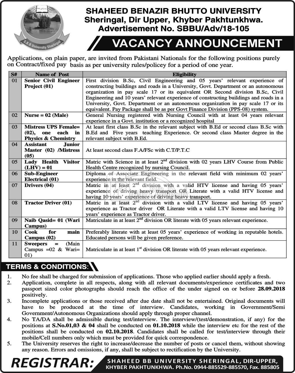 Shaheed Benazir Bhutto University Dir Upper KPK Jobs 2018