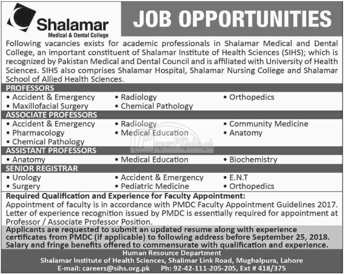 Shalamar Medical & Dental College Jobs 2018