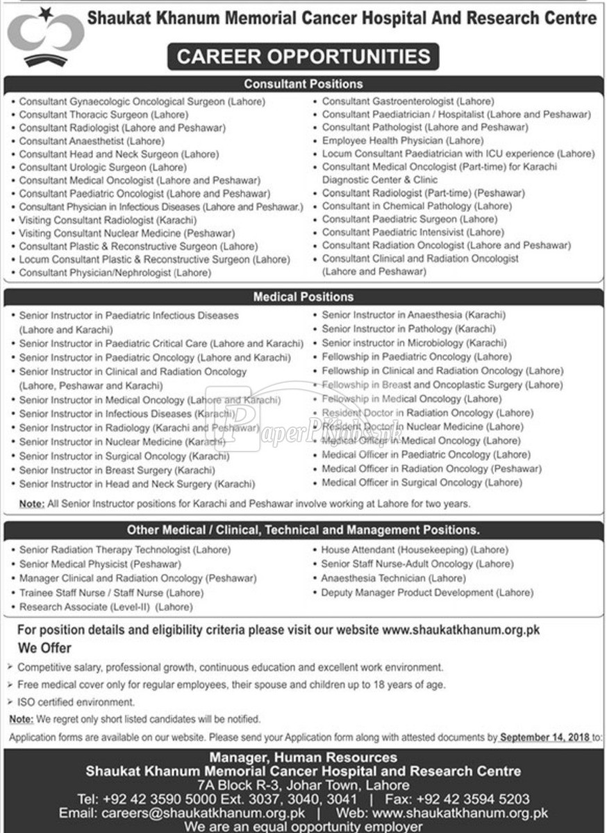 Shaukat Khanum Memorial Cancer Hospital and Research Centre Jobs 2018