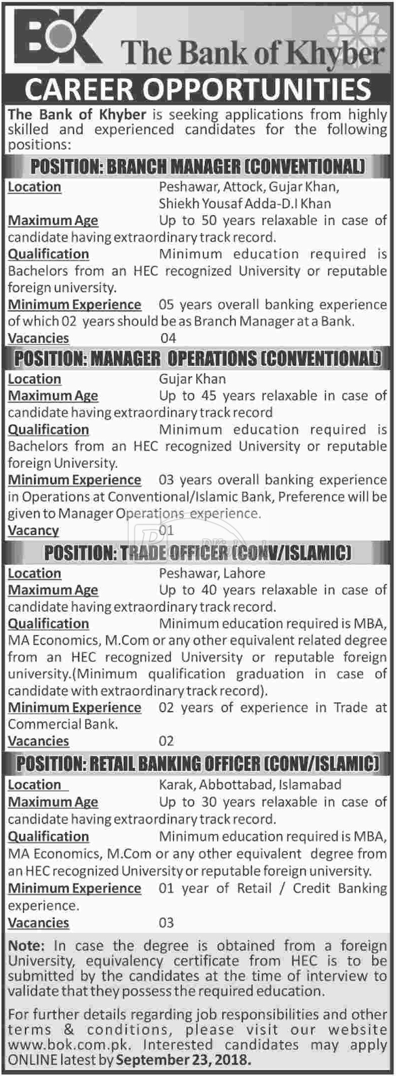 The Bank of Khyber Jobs 2018