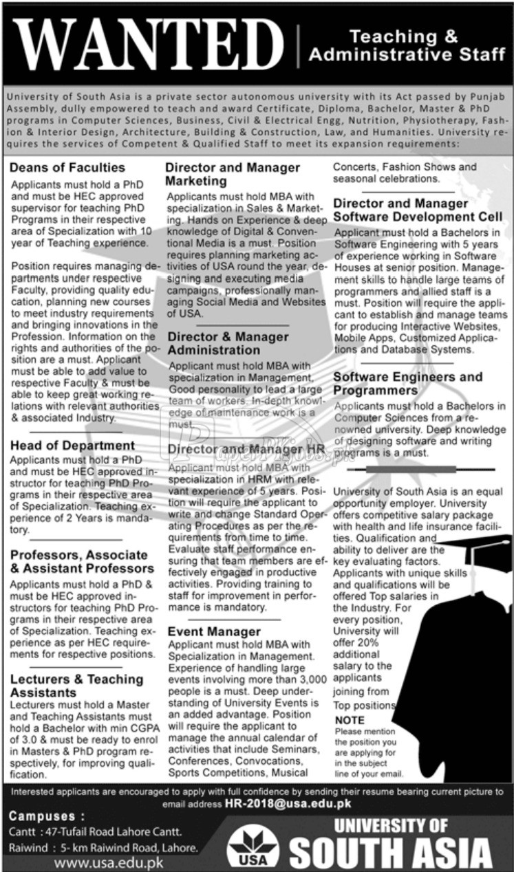 University of South Asia Jobs 2018