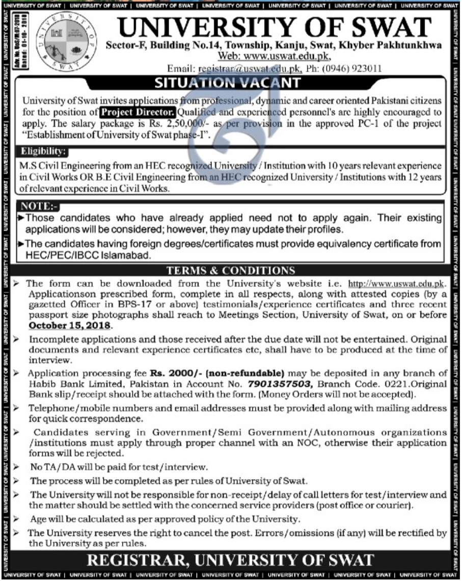 University of Swat Khyber Pakhtunkhwa Jobs 29 September 2018