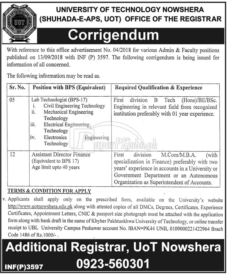 University of Technology Nowshera Jobs 2018