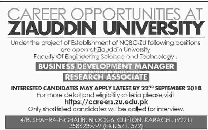 Ziauddin University Karachi Jobs 2018