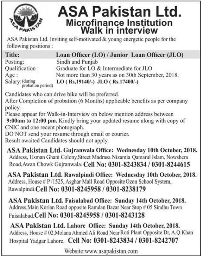 ASA Pakistan Ltd Microfinance Institution Jobs 2018