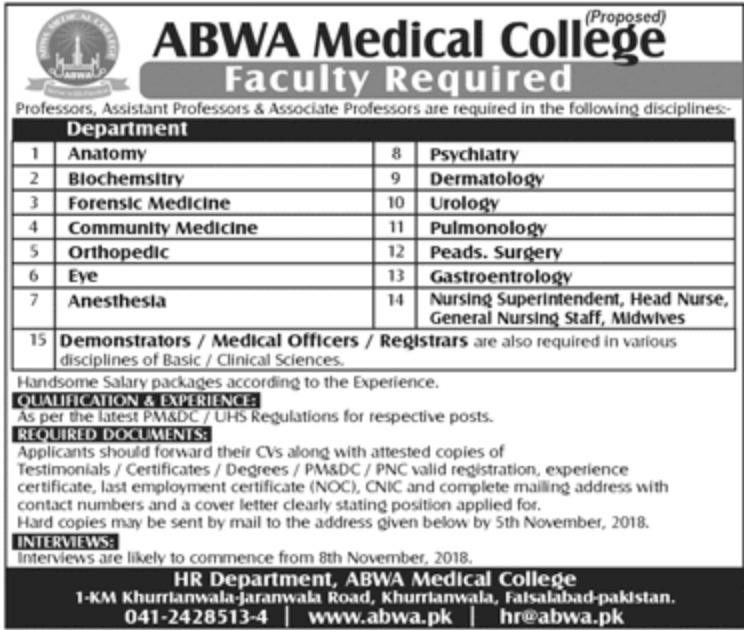 Abwa Medical College Faisalabad Jobs Latest 2018