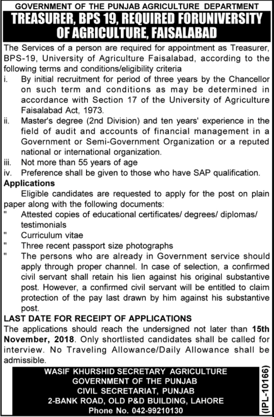 Agriculture Department Punjab Latest Jobs 2018