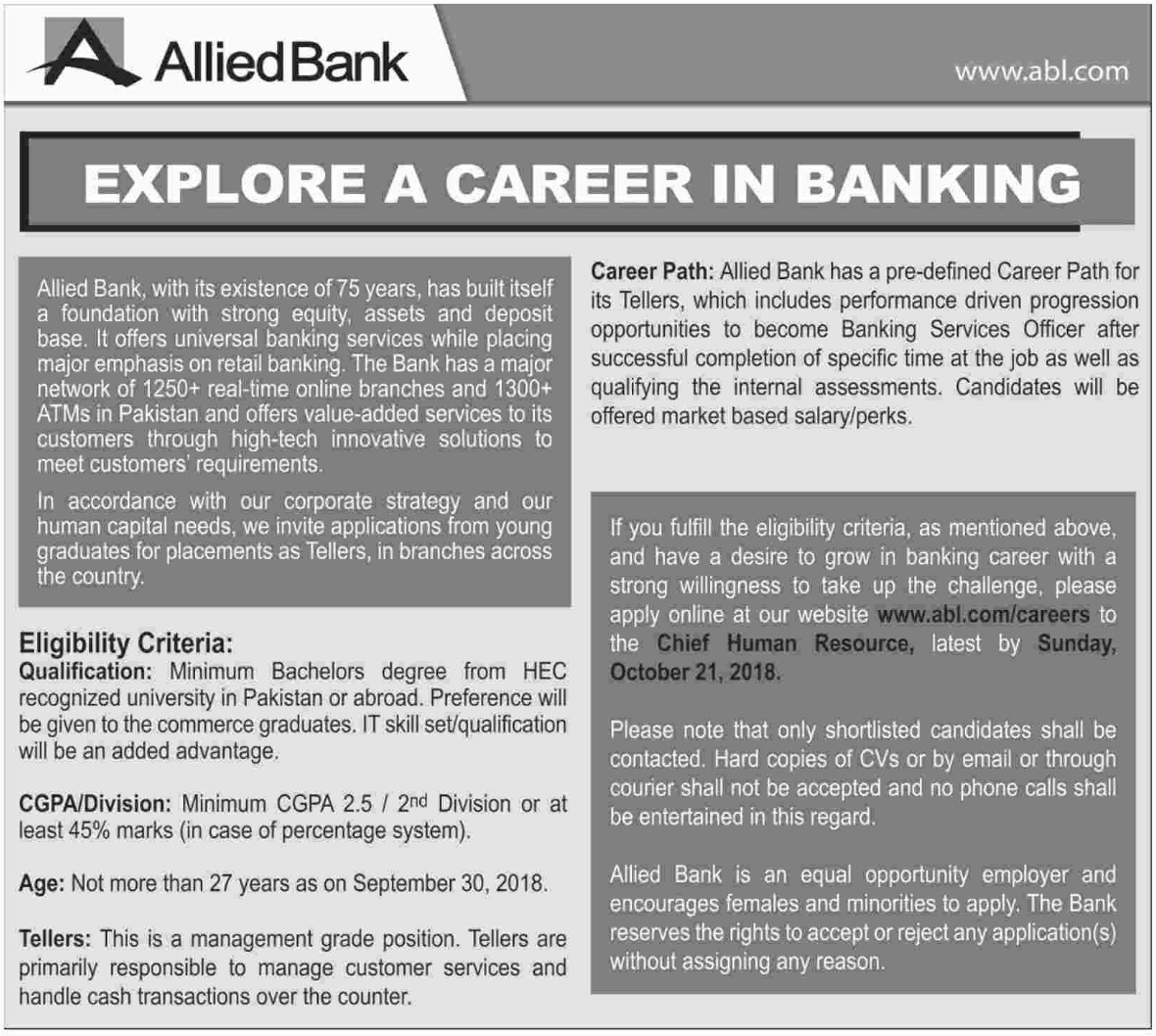 Allied Bank Ltd ABL Latest Jobs 14 October 2018